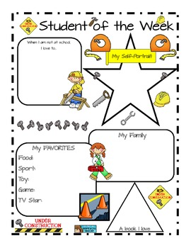 Star Student of the Week Construction theme