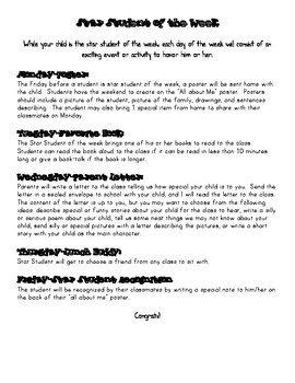 Star Student of the week activities for recognition