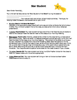 Star Student/Student of the Week Letter to Parents