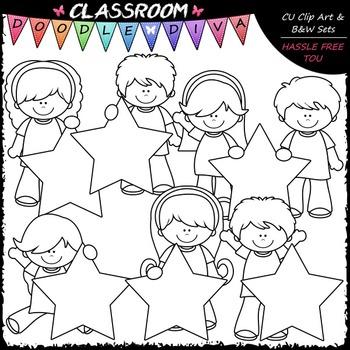 Star Students - Clip Art & B&W Set