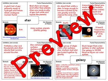 Star Systems Vocabulary (Frayer Model)
