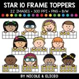 Star Ten Frame Kid Toppers Clipart
