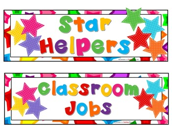Star Theme Classroom Jobs Display Cards Set