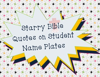 Star Theme Desk Name Plates with Bible Quotes