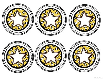 Star Theme Name and Number Circles
