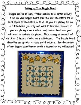 Star Themed BOGGLE Board