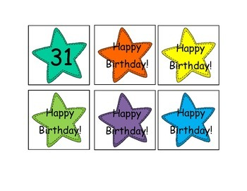 Star Themed Calendar Numbers