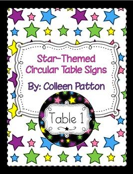 Star Themed Circular Table Signs