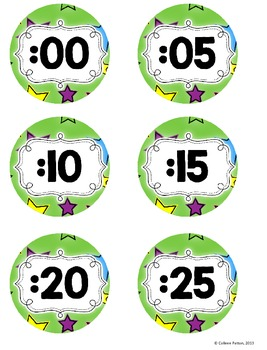 Star Themed Classroom Clock Labels