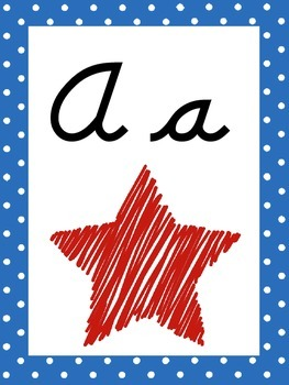 Star Themed Cursive Alphabet Wall Display