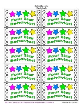 Star Themed Student Incentive Punch Cards