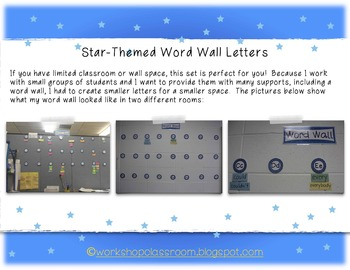 Star-Themed Word Wall Letters {For Small Spaces}
