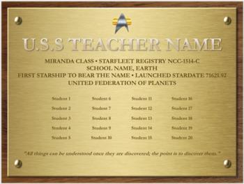 Star Trek Themed Class List (Editable)
