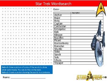 Star Trek Wordsearch Puzzle Sheet Starter Activity Keywords TV Series