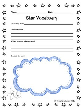 Star Vocabulary Worksheet