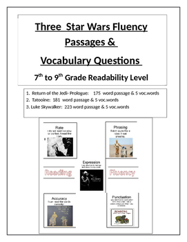 Star Wars; 3 Fluency Passages  & Vocabulary Activity    7-9th Gr. Level