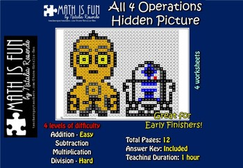 Star Wars 3CPO R2D2 - Mystery Picture - 4 operations - Fou