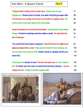 Star Wars 3rd Grade FLUENCY PASSAGES QUEEN'S JOURNAL (6 passages)