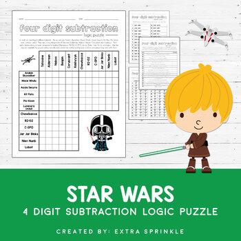 Star Wars 4 Digit Subtraction Logic Puzzle