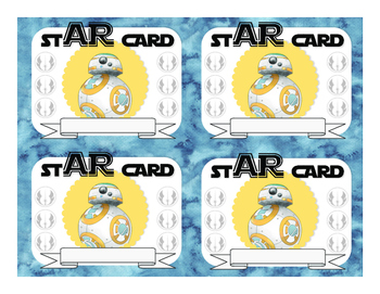 Star Wars AR punch Cards for Accelerated Reader Program