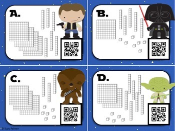 Star Wars Base 10 Blocks Task Cards with QR Codes