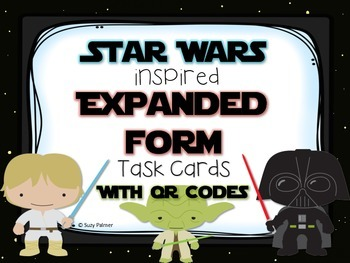 Star Wars Base Expanded Form Task Cards with QR Codes