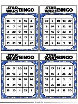 Star Wars Bingo Addition and Subtraction to 20