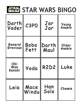 Star Wars Bingo and cards