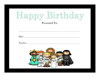 Star Wars Birthday Certificates (Includes 6 Certificates)