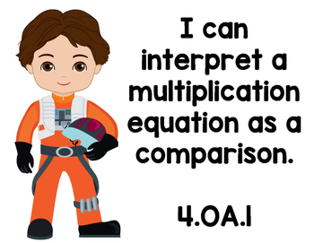 """Star Wars CCSS 4th Grade """"I Can Statements"""" Reading & Math"""