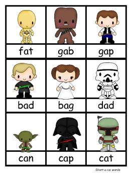Star Wars--CVC, Nonsense words, and literacy activities
