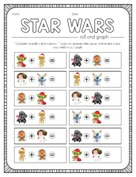Star Wars Inspired Christmas Roll and Graph Activity and Data Sheets