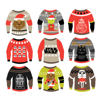 Star Wars , Christmas Ugly Sweaters , Clipart \u0026 Vector Set