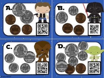 Star Wars Counting Coins (to $1) Task Cards with QR Codes