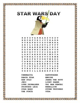 """Star Wars -  Word Search-"""" May The Fourth Be with You"""""""