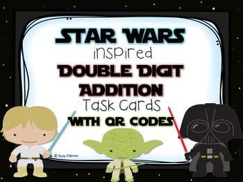 Star Wars Double Digit Addition Task Cards with QR Codes