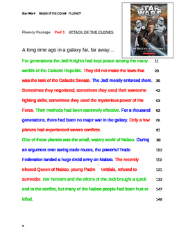 Star Wars  FLUENCY PASSAGES Attack Of the Clones