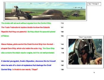 Star Wars FLUENCY PASSAGES-Pilot  Into the Stars-  Grade Level 6-7