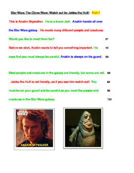 Star Wars -FLUENCY-Watch out for Jabba the Hutt! 4th Grade Readability Level
