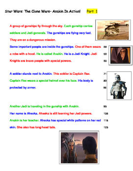 Star Wars;Anakin In Action!  Fluency 4th Grade Level, Lexile 490L - 6 PASSAGES
