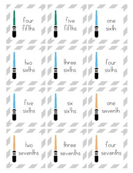 Star Wars Inspired Fraction Matching Game