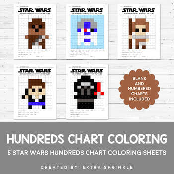 Star Wars Inspired Hundreds Chart Coloring Pages Version 2