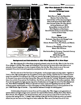 Star Wars Episode IV: A New Hope Film (1977) Study Guide Movie Packet