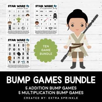 Star Wars Inspired Addition & Multiplication Bump Games Bundle