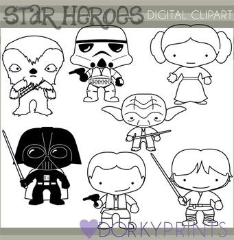 Star Wars Inspired Black Line Clip Art