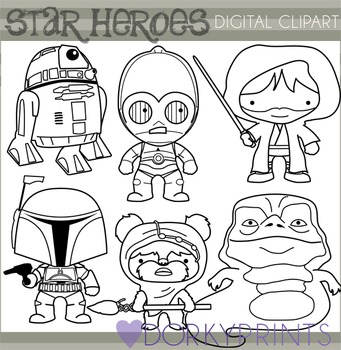 Star Wars Inspired Black Line Clip Art