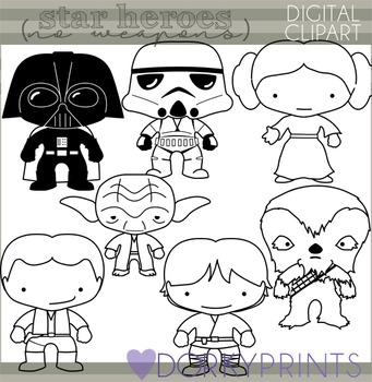 Star Wars Inspired Black Line Clip Art - NO WEAPONS