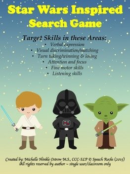 Star Wars Inspired Search Game (verbal expression, visual discrim, memory)