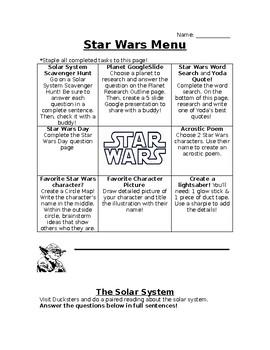 Star Wars Menu Activity Board