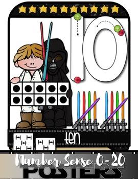 Star Wars NUMBER SENSE ANCHOR CHARTS 0-20 {Correct Number Formation/Handwriting}